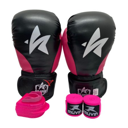 Kit Boxe Luva de Boxe / Muay Thai 12oz PU + Bandagem + Bucal - Preto com Rosa - Sulsport