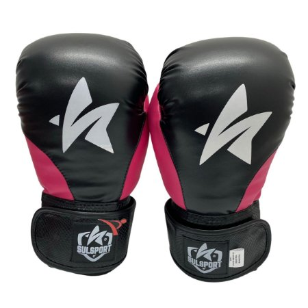 Luva de Boxe / Muay Thai 12oz PU - Preto com Rosa - Sulsport