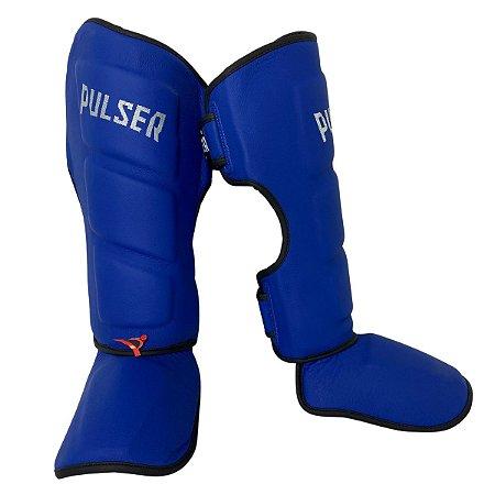 Caneleira Muay Thai MMA Kickboxing Tamanho Médio 40mm COURO LEGITIMO - Azul - Pulser