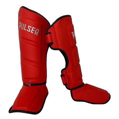 Caneleira Muay Thai MMA Kickboxing Tamanho Médio 40mm COURO LEGITIMO - Vermelho - Pulser