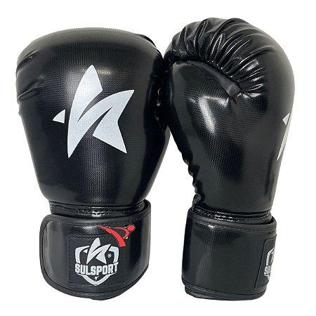 Luva de Boxe / Muay Thai 12oz PU - Preto - Sulsport