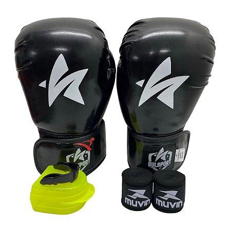 Kit Boxe Luva de Boxe / Muay Thai 12oz PU + Bandagem + Bucal - Preto - Sulsport