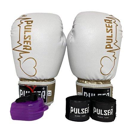 Kit Boxe Luva de Boxe / Muay Thai 12oz PU + Bandagem + Bucal - Branco com Dourado Coração - Pulser