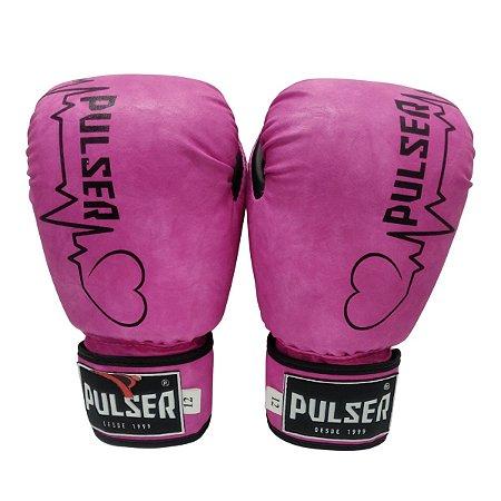 Luva de Boxe / Muay Thai Feminina 12oz PU - Rosa com Preto Coração - Pulser
