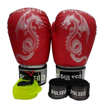 Kit Boxe Luva de Boxe / Muay Thai 12oz PU + Bandagem + Bucal - Vermelho com Prata Dragão - Pulser