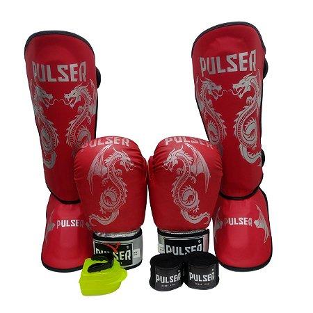 Super Kit Thai Luva de Boxe / Muay Thai 12oz PU + Caneleira 30mm G + Bandagem + Bucal - Vermelho com Prata Dragão - Pulser