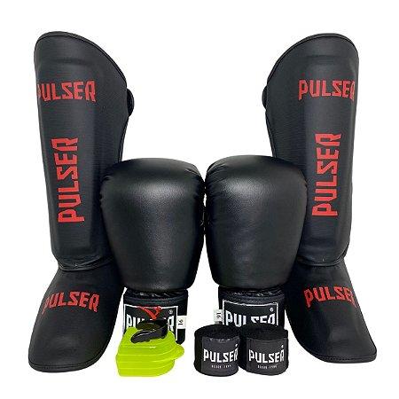 Kit Thai Luva de Boxe / Muay Thai 16oz PU + Caneleira 30mm G + Bandagem + Bucal - Preto com Vermelho - Pulser
