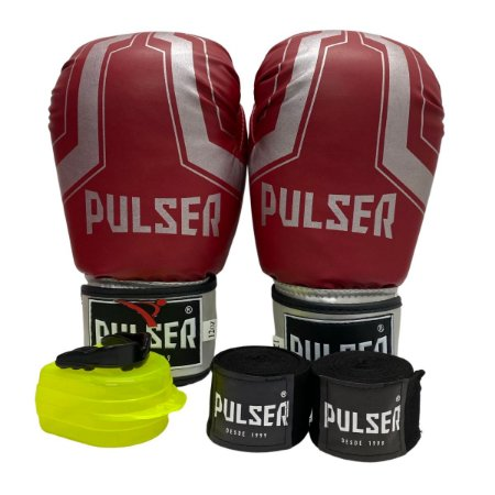 Kit Boxe Luva de Boxe / Muay Thai 12oz PU + Bandagem + Bucal - Vermelho com Prata Iron - Pulser