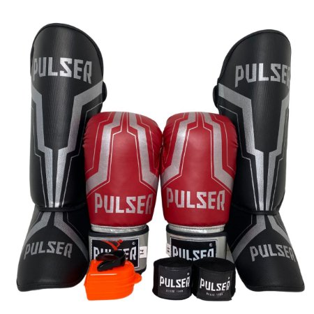 Kit Thai Luva de Boxe / Muay Thai 14oz PU + Caneleira 20mm + Bandagem + Bucal - Vermelho com Prata Iron - Pulser