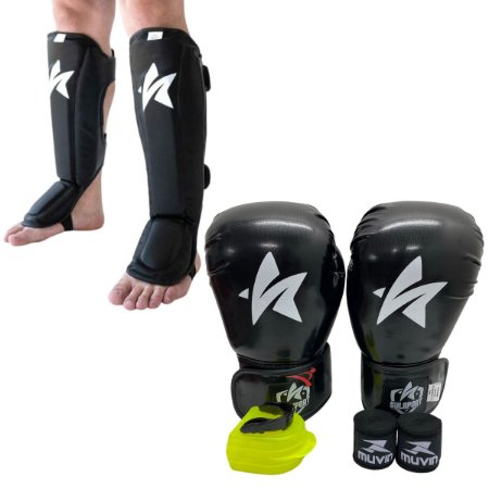 Kit Thai Luva de Boxe / Muay Thai 12oz PU + Caneleira + Bandagem + Bucal - Preto - Sulsport