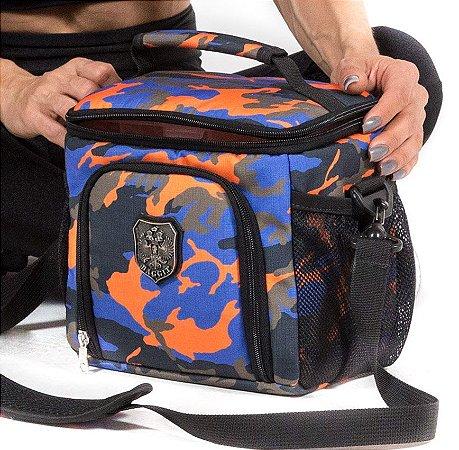 Foodbag Crossfitter Camuflada Laranja / Azul  (lona de algodão)