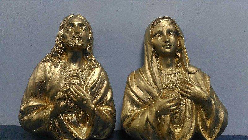 BUSTOS SAGRADOS CORAÇÕES DE JESUS E MARIA EM GESSO