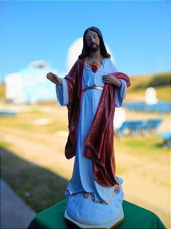 IMAGEM DO SAGRADO CORAÇÃO DE JESUS EM GESSO 60 CM