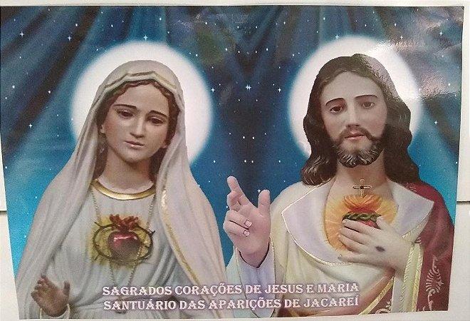 ESTAMPA DOS SAGRADOS CORAÇÕES UNIDOS DE JESUS E MARIA