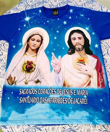 CAMISETA DOS SAGRADOS CORAÇÕES DE JESUS E MARIA NA COR AZUL
