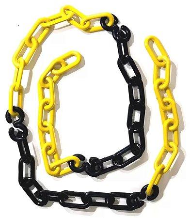Corrente Plástica Zebrada preta e amarela