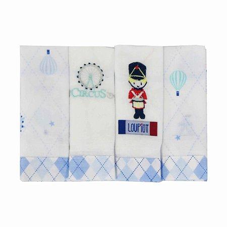 Babete Fralda Azul Circus Loupiot - Minasrey 4 peças