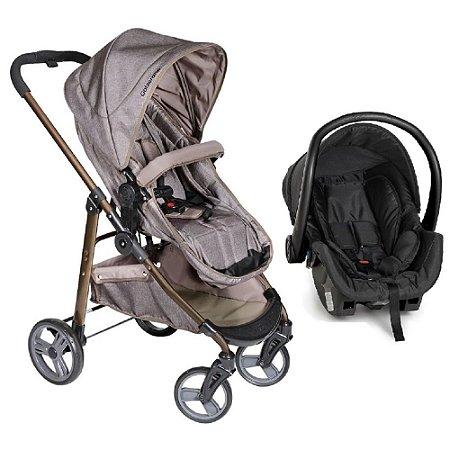 Carrinho de Bebê Moisés Olympus Capuccino Preto + Bebê Conforto - Galzerano
