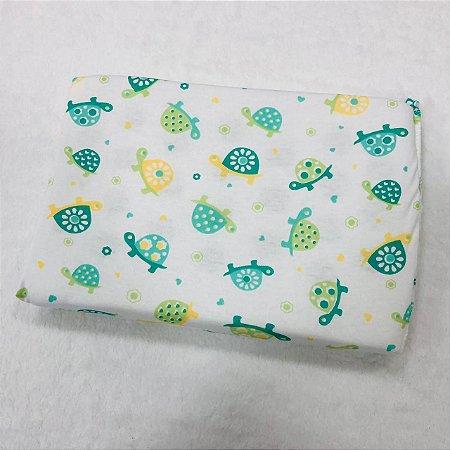 Travesseiro Para Bebê Antissufocante Carícias Malhas Tartaruga Verde