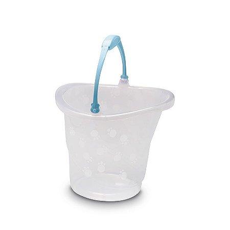 Balde 13 Litros Transparente Azul - Adoleta Bebê