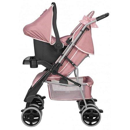 Carrinho Bebê Berço Passeio Rosa Coroa Thor Tutti Baby