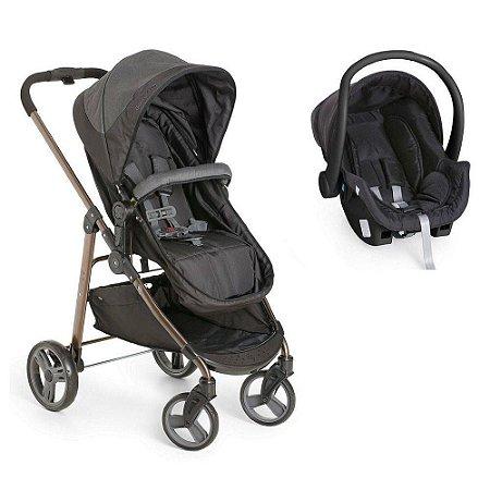 Carrinho de Bebê Moisés Olympus Black Preto + Bebê Conforto - Galzerano