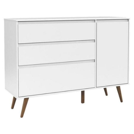 Cômoda Infantil Com Porta Retro Clean Branco Acetinado Eco Wood - Matic