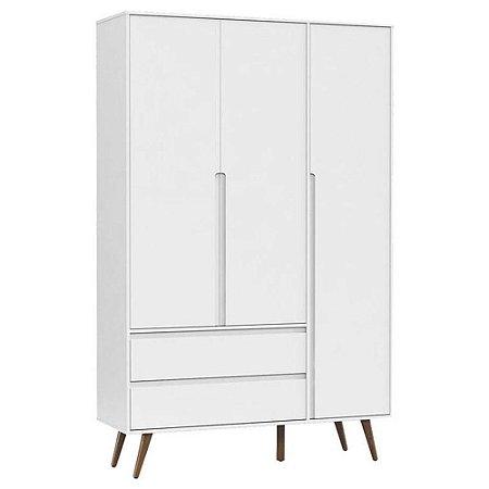 Guarda Roupa Infantil 3 Portas Retro Clean Branco Acetinado Eco Wood - Matic