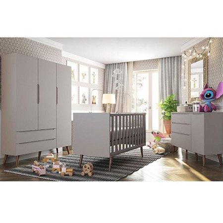 Quarto Bebê Smart 3 Portas com Berço Colore Cinza Retrô - Fiorello