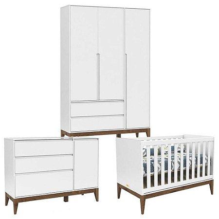 Quarto de Bebê 3 Portas Cômoda com Porta Nature Clean Branco Acetinado Eco Wood - Matic