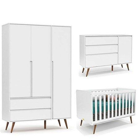 Quarto de Bebê Retrô Clean 3 Portas Matic Cor Branco Eco Wod