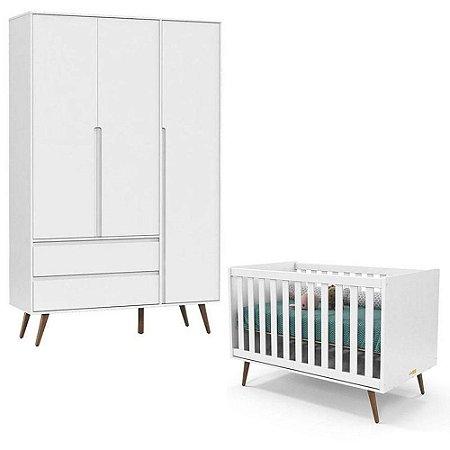 Berço e Guarda Roupa 3 portas Retrô Clean Branco - Eco wood - Matic