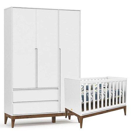 Berço e Guarda Roupa Infantil Nature Clean 3 Portas Branco Acetinado Eco Wood - Matic