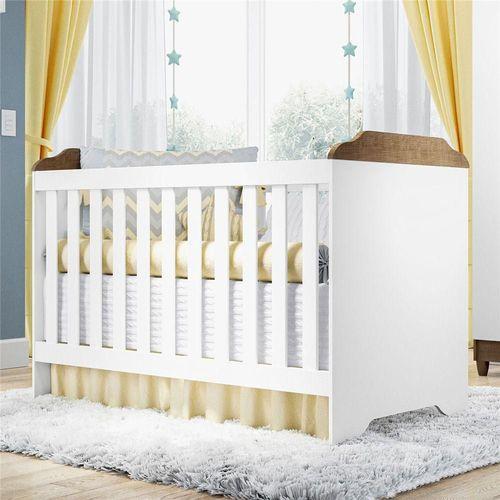 Berço Minicama 3 em 1 Branco amadeirado - Carolina Baby
