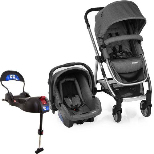 Carrinho De Bebê Travel System Infanti Epic Lite Trio Grey Classic + Base Isofix