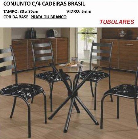 Conjunto com 04 Cadeiras Brasil