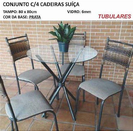 Conjunto com 04 Cadeiras Suiça