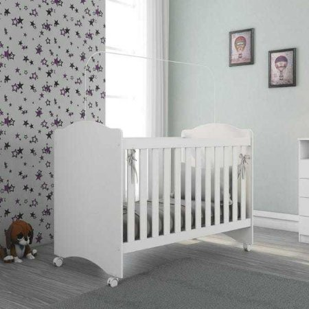 Berço Regulável com Rodízios Litle Baby Atualle Móveis Branco