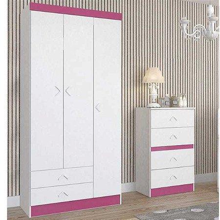 Guarda Roupa Infantil 3 Portas Happy Baby Atualle Móveis Flex Color Branco/Rosa
