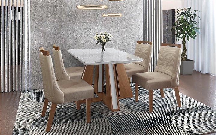 Conjunto Mesa De Jantar Retangular Rubi Com 4 Cadeiras