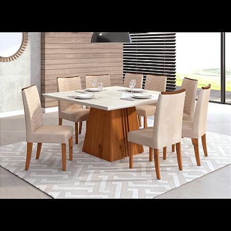 Mesa de jantar com 8 Cadeiras Serenas, Tecido Suede - Dj Móveis Itália - Terrara Off / Linho Saara