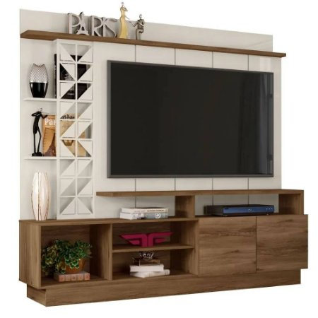 Estante Home Theater para TV até 65 Polegadas Sala de Estar Vivaz Canela/Off White - Frade Movelaria