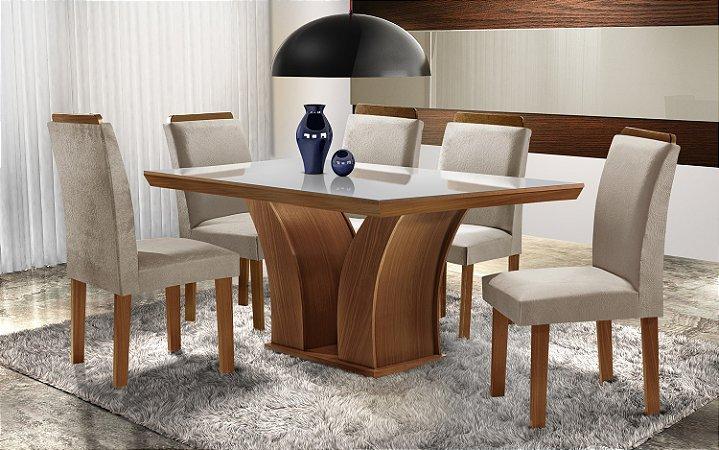 Conjunto Mesa De Jantar  Com 4 Cadeiras  Retangular Leblon - LJ Móveis