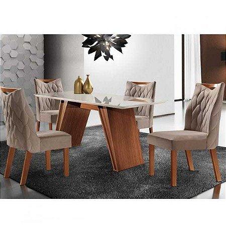 Conjunto Sala de Jantar Mesa Atena com 4 Cadeiras Delta LJ Móveis