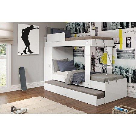 Treliche para colchão 190x80 cm Multimóveis Branco com Fumê