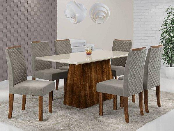 Conjunto Sala de Jantar Mesa Elegance com 6 Cadeiras Elegance Sonetto