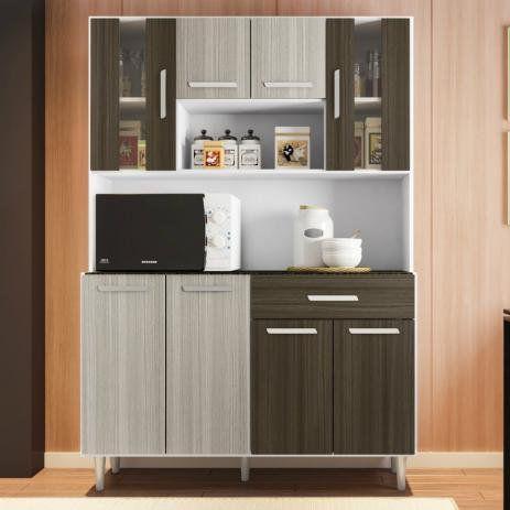 Cozinha Compacta Poliman Móveis Gabi com 8 Portas e 1 Gaveta Arena/Amêndoa