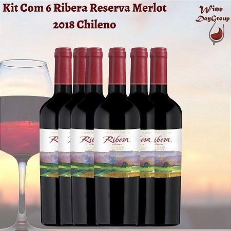Kit Com 6 Ribera Reserva Merlot 2018 Vinho Chileno