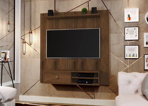 Painel para TV até 55 Polegadas JB 5024 Perola com Caramelo Branco/Canela