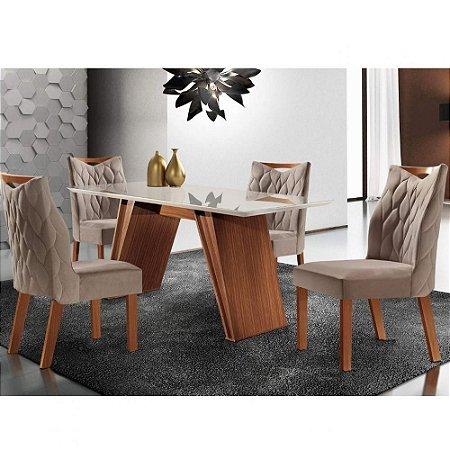 Conjunto Sala de Jantar Mesa Atena com 6 Cadeiras Delta LJ Móveis